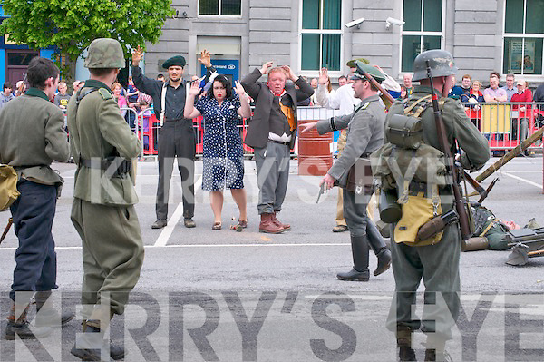 Listowel Military Weekend : Action scenes from the battle to take a small  french town. French resistance fighters arrested by German soldiers.