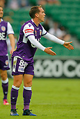 25th March 2018, nib Stadium, Perth, Australia; A League football, Perth Glory versus Melbourne Victory; Neil Kilkenny of Perth Glory reacts to the referees decision during the first half