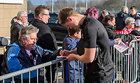 Lincoln City's Mark O'Hara signs autographs for fans after arriving at the ground<br /> <br /> Photographer Chris Vaughan/CameraSport<br /> <br /> The EFL Sky Bet League Two - Lincoln City v Stevenage - Saturday 16th February 2019 - Sincil Bank - Lincoln<br /> <br /> World Copyright © 2019 CameraSport. All rights reserved. 43 Linden Ave. Countesthorpe. Leicester. England. LE8 5PG - Tel: +44 (0) 116 277 4147 - admin@camerasport.com - www.camerasport.com