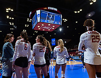 Stanford, California - December 8, 2018: The Stanford Cardinal women's volleyball team defeats Penn State 3-1 at Maples Pavilion in Stanford, California.