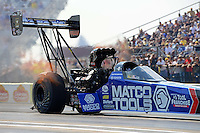 Sept. 21, 2012; Ennis, TX, USA: NHRA top fuel dragster driver Antron Brown during qualifying for the Fall Nationals at the Texas Motorplex. Mandatory Credit: Mark J. Rebilas-