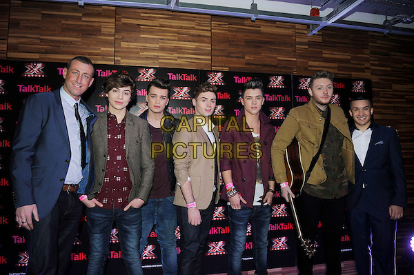 Christopher Maloney, George Shelley, Josh Cuthbert, Jaymi Hensley, Jamie Hamblett, James Arthur and Jahmene Douglas .Attending photocall at the X Factor semi finalists secret gig, Talk Talk Head Office, London, England, UK, .29th November 2012..half length boy band group red shirt  maroon burgundy leather black green jacket  jeans cardigan hands in pockets guitar union J.CAP/MAR.© Martin Harris/Capital Pictures.