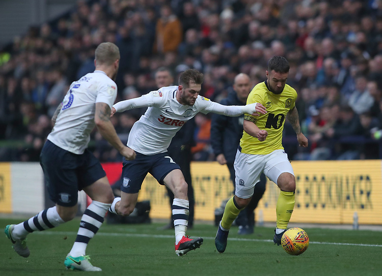 Blackburn Rovers' Adam Armstrong and Preston North End's Darnell Fisher<br /> <br /> Photographer Rachel Holborn/CameraSport<br /> <br /> The EFL Sky Bet Championship - Preston North End v Blackburn Rovers - Saturday 24th November 2018 - Deepdale Stadium - Preston<br /> <br /> World Copyright © 2018 CameraSport. All rights reserved. 43 Linden Ave. Countesthorpe. Leicester. England. LE8 5PG - Tel: +44 (0) 116 277 4147 - admin@camerasport.com - www.camerasport.com