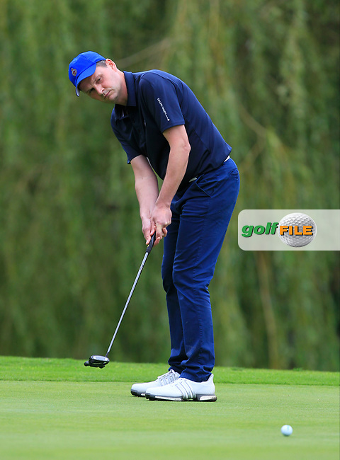 Andrew Morris (Portrush) on the 14th green during the Ulster Final of the AIG Senior Cup at Belvoir Park Golf Club, Belfast, North Ireland. 20/08/2017<br /> Picture: Golffile | Thos Caffrey<br /> <br /> All photo usage must carry mandatory copyright credit     (&copy; Golffile | Thos Caffrey)