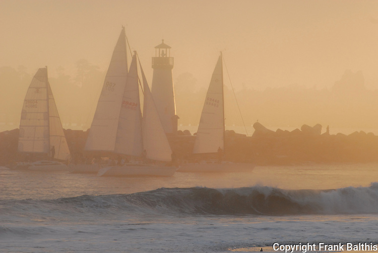 Yachts and Walton Lighthouse in Santa Cruz