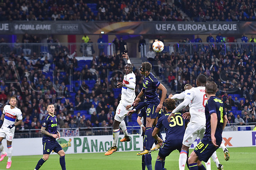 2nd November 2017, Nice, France; EUFA Europa League, Olympique Lyonnais versus Everton;  Mouctar Diakhaby (lyon) challenges for the header with Dominic Calvert-Lewin (everton)