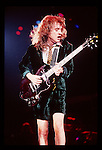Angus Young of AC-DC performing in concert during the 1980's Angus Young