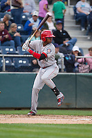 Ti'Quan Forbes (10) of the Spokane Indians at bat during a game against the Everett Aquasox at Everett Memorial Stadium in Everett, Washington on July 24, 2015.  Everett defeated Spokane 8-6. (Ronnie Allen/Four Seam Images)