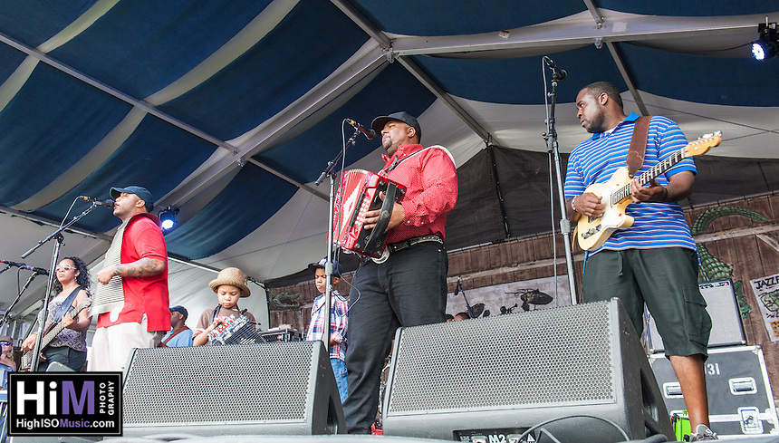 Keith Frank and the Soileau Zydeco Band perform at the 2014 Jazz and Heritage Festival in New Orleans, LA.