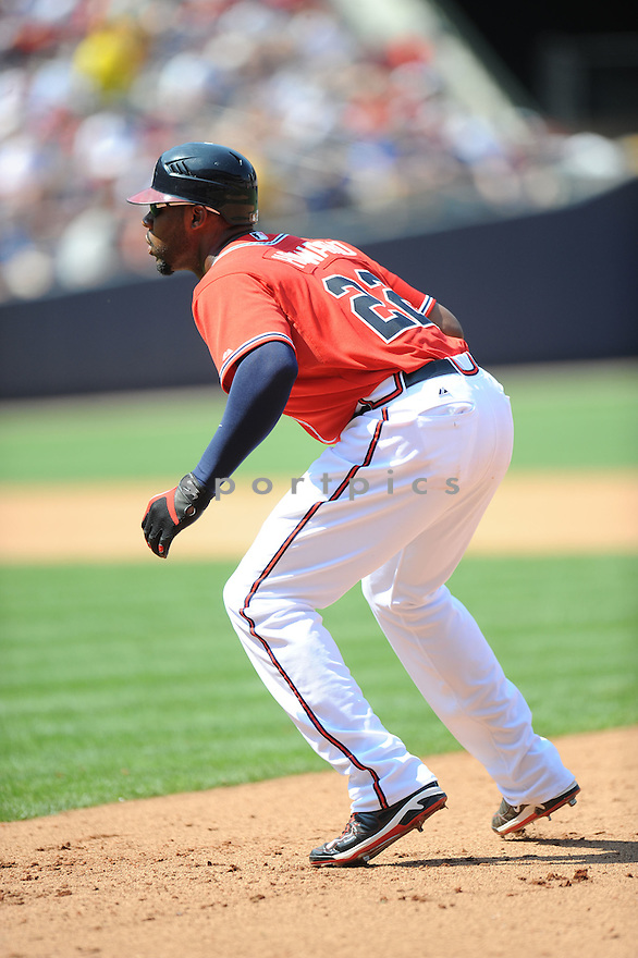 JASON HEYWARD, of the Atlanta Braves, in action during the Braves game against the Philadelphia Phillies on April 10, 2011 at Turner Field in Atlanta Georgia.  The Phillies beat the Braves 3-0.