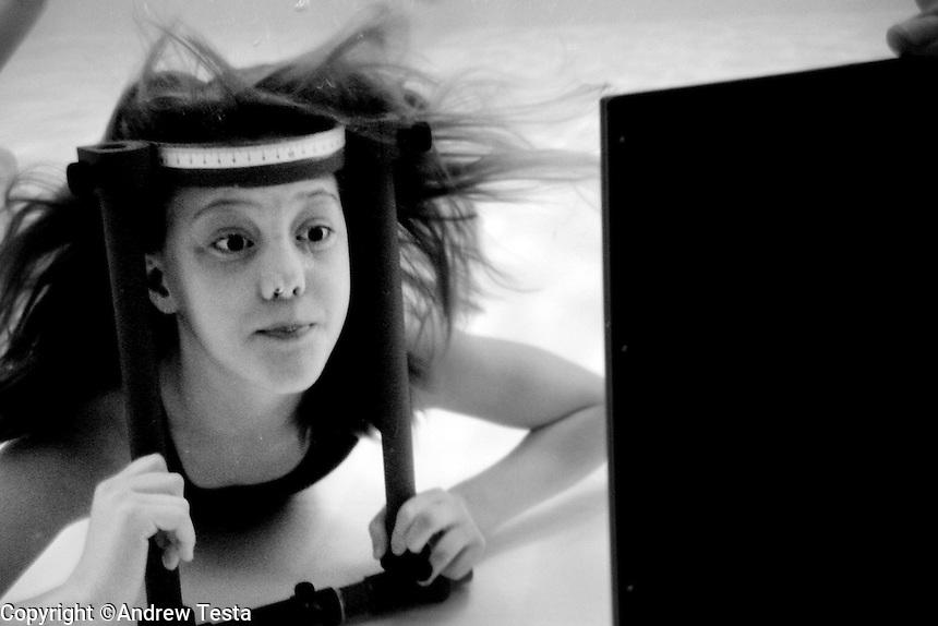 SWEDEN. Lund. December 2004..Experiment conducted by scientist Anna Gislen to try to train European children to improve their eyesight underwater. Gislen has found that Moken children's eyesight underwater is 50% better than other children.