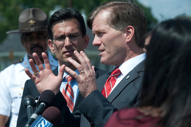 UNITED STATES - August 24 : Eric Cantor, R-VA. and Governor of Virginia McDonnell talk with reporters in downtown Mineral at the Mineral Volunteer Fire Department about yesterdays earthquake and the effects to the local area including the North Anna Power Station. (Photo By Douglas Graham/Roll Call)