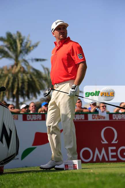 Graeme McDOWELL (NIR) tees off the 1st tee during Sunday's Final Round of the 2015 Omega Dubai Desert Classic held at the Emirates Golf Club, Dubai, UAE.: Picture Eoin Clarke, www.golffile.ie: 2/1/2015