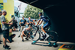 Julian Alaphilippe (FRA) Deceuninck-Quick Step finishes 3rd and takes back the Yellow Jersey at the end of Stage 8 of the 2019 Tour de France running 200km from Macon to Saint-Etienne, France. 13th July 2019.<br /> Picture: ASO/Thomas Maheux | Cyclefile<br /> All photos usage must carry mandatory copyright credit (© Cyclefile | ASO/Thomas Maheux)