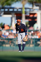 Detroit Tigers shortstop Wenceel Perez (76) during a Grapefruit League Spring Training game against the Baltimore Orioles on March 3, 2019 at Ed Smith Stadium in Sarasota, Florida.  Baltimore defeated Detroit 7-5.  (Mike Janes/Four Seam Images)