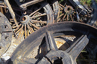 A pile of abandoned wheels at Kennicott Mine.