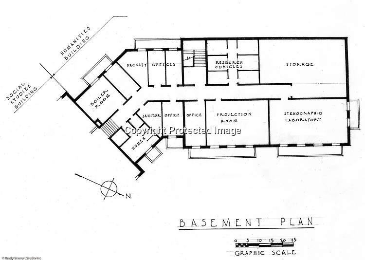 Pittsburgh PA: An Ingham, Boyd and Pratt basement floor drawing of the new Humanities building at the Pennsylvania College for Women's campus. Ingham, Boyd and Pratt Architect's various designs were submitted from 1948 through 1952 with construction starting in 1953. Pennsylvania College for Women was renamed Chatham College in 1955.