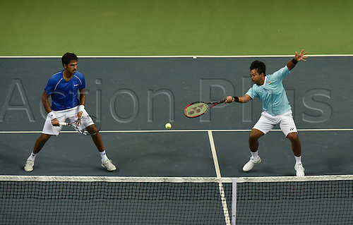 17.09.2016. New Delhi, India.  Indian Tennis players Saketh Myneni and Leander Paes playing against Spains Rafael Nadal and Marco Lopez during the Davis Cup World Group play-off match at DLTA, on September 17, 2016 in New Delhi, India.