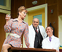 What The Butler Saw by Joe Orton, directed by Sean Foley . With Samantha Bond as Mrs Prentice,  Omid Djalili as Dr Rance, Tim McInnerny as Dr Prentice. Opens at The Vaudaville Theatre  on 16/5/12 .CREDIT Geraint Lewis