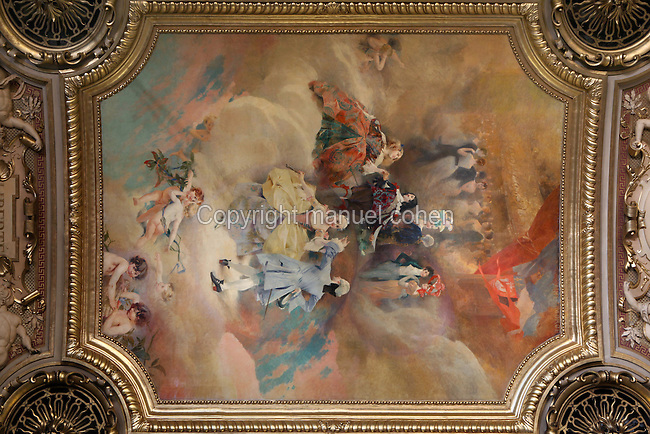 Music and dance history, painting of the ceiling of la Salle des Fêtes by Aimé Morot (1850-1913), Hôtel de Ville, 16th century and rebuilt in the 19th century by Ballu and Deperthes, Place de Grève, Paris, France. It has been the location of the municipality of Paris since 1357. It serves multiple functions, housing the local administration, the Mayor of Paris (since 1977), and also serves as a venue for large receptions. Picture by Manuel Cohen