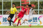 Torres Sartori Igor (L) of Wofoo Tai Po fights for the ball with Chi Chung Wong (R) of Dreams FC during the Dreams FC vs Wofoo Tai Po match of the week one Premier League match at the Aberdeen Sports Ground on 26 August 2017 in Hong Kong, China. Photo by Yu Chun Christopher Wong / Power Sport Images