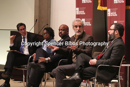 The University of Chicago Law School held a panel discussion Wednesday evening to discuss the social unrest raised by issues in Ferguson, Cleveland and New York. This event was co-sponsored by the University of Chicago&rsquo;s Institute of Politics and the Office of Civic Engagement.<br /> <br /> 1061 - Program moderator, Steve Edwards, National Coordinator for the Black Youth Project, Charlene Carruthers, Captain Ronald Johnson of the Missouri State Highway Patrol and Associate Professor of Sociology, Andrew Papachristos listened as writer and activist, Jamie Kelven spoke.