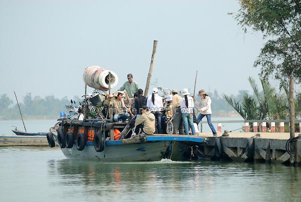 Asia, Vietnam, near Hoi An. Ferry on the Thu Bon river near Hoi An.