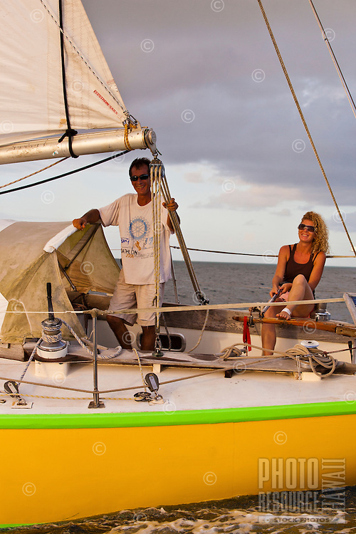 Couple sailing in Tahiti