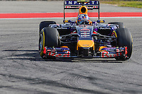 Daniel Ricciardo of Infiniti Red Bull Racing driving (3) RB10 during 2014 Formula 1 United States Grand Prix race, Sunday, November 02, 2014 in Austin, Tex. (Mo Khursheed/TFV Media via AP Images)