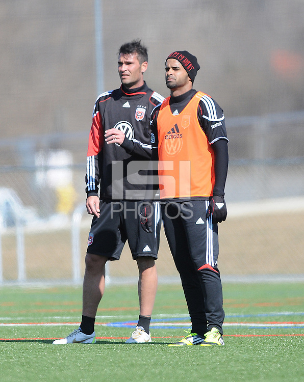 D.C. United defender Emiliano Dudar (19) left with forward Maicon Santos (29) During the first training session after returning from Arizona, at Long Bridge Park in Arlington Virginia, Monday February 20, 2012.
