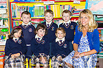 Prinicipal Maire Walsh with her Junior Infants on their first day at school in Knocknagoshel NS on Tuesday