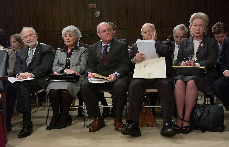 01/12/06.ALITO HEARINGS--Judges waiting to testify at the Senate Judiciary hearing on behalf of Judge Samual A. Alito Jr., to be an associate justice of the U.S. Supreme Court: U.S. Court of Appeals Judge Ruggero J. Aldisert; an unidentified woman; Chief Judge of the U.S. Court of Appeals for the Third Circuit  Anthony J. Scirica; U.S. Court of Appeals Judge Edward R. Becker; and U.S. Court of Appeals Judge Maryanne Trump Barry..CONGRESSIONAL QUARTERLY PHOTO BY SCOTT J. FERRELL