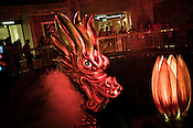 A giant dragon during a light show at a luxury hotel in Central Macau, China.