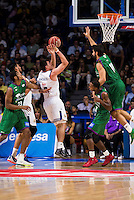 Real Madrid's player Jonas Maciulis and Unicaja Malaga's player Jeff Brooks, Oliver Lafayette and Dani Diez during match of Liga Endesa at Barclaycard Center in Madrid. September 30, Spain. 2016. (ALTERPHOTOS/BorjaB.Hojas) /NORTEPHOTO