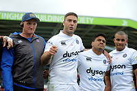 Matt Banahan of Bath Rugby speaks to his team-mates in a post-match huddle. Aviva Premiership match, between Leicester Tigers and Bath Rugby on September 3, 2017 at Welford Road in Leicester, England. Photo by: Patrick Khachfe / Onside Images