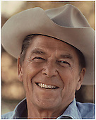 Photograph of Ronald Reagan in a cowboy hat at Rancho Del Cielo, California  circa 1976..