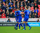 4th November 2017, bet365 Stadium, Stoke-on-Trent, England; EPL Premier League football, Stoke City versus Leicester City; Riyad Mahrez of Leicester City celebrates scoring the second goal with Harry Maguire and Christian Fuchs to make the score 2-1 to Leicester