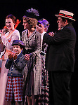 Erin Mackey, Zachary Unger, Jenn Colella & Michael McCormick during the Curtain Call and check presentation to The Lil' Bravest Charity at 'Chaplin' at the Barrymore Theatre in New York City on 11/09/2012