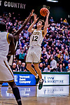 18 December 2018: University of Vermont Catamount Forward Bailey Patella, a Sophomore from Lenox, MA, in first-half action against the St. Bonaventure University Bonnies at Patrick Gymnasium in Burlington, Vermont. The Catamounts defeated the Bonnies 83-76 in a double-overtime NCAA DI game. Mandatory Credit: Ed Wolfstein Photo *** RAW (NEF) Image File Available ***