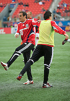 16 May 09: Chicago Fire midfielder Cuauhtemoc Blanco #10 and Chicago Fire midfielder Marco Pappa #16 warm-up during action at BMO Field in a game between the Chicago Fire and Toronto FC..Chicago Fire won 2-0..