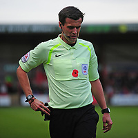 Referee Craig Hicks wearing a Poppy on his shirt<br /> <br /> Photographer Andrew Vaughan/CameraSport<br /> <br /> The EFL Sky Bet League Two - Crewe Alexandra v Lincoln City - Saturday 11th November 2017 - Alexandra Stadium - Crewe<br /> <br /> World Copyright &copy; 2017 CameraSport. All rights reserved. 43 Linden Ave. Countesthorpe. Leicester. England. LE8 5PG - Tel: +44 (0) 116 277 4147 - admin@camerasport.com - www.camerasport.com