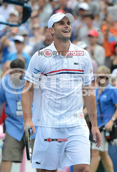 FLUSHING NY- SEPTEMBER 2: Andy Roddick celebrates after forth set victory Fabio Fognini on Arthur Ashe stadium at the USTA Billie Jean King National Tennis Center on September 2, 2012 in in Flushing Queens. Credit: mpi04/MediaPunch Inc. ***NO NY NEWSPAPERS*** /NortePhoto.com<br />