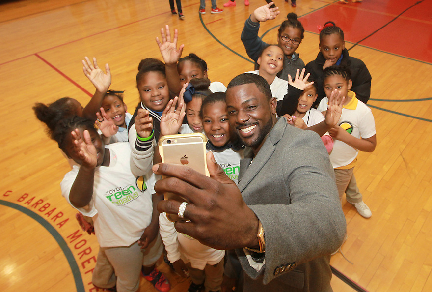 Actor Lance Gross as a part the Toyota Green Initiative makes a stop at Jim and Barbara Morefield Boys and Girls Club in Houston, Texas on Friday, on Friday, Dec. 4, 2015..