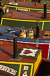 Close up of colourful canal boats at Gas Street Basin Birmingham England
