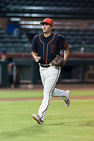 AZL Giants Black third baseman Sean Roby (5) jogs off the field between innings of an Arizona League game against the AZL Rangers at Scottsdale Stadium on August 4, 2018 in Scottsdale, Arizona. The AZL Giants Black defeated the AZL Rangers by a score of 6-3 in the second game of a doubleheader. (Zachary Lucy/Four Seam Images)