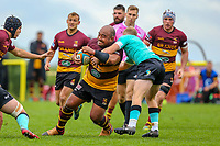 Aleki Lutui of Ampthill Rugby during the Greene King IPA Championship match between Ampthill RUFC and Nottingham Rugby on Ampthill Rugby's Championship Debut at Dillingham Park, Woburn St, Ampthill, Bedford MK45 2HX, United Kingdom on 12 October 2019. Photo by David Horn.