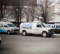 A WPIX television van parked in Newark, NJ on Friday, March 11, 2016. Tribune Media, owner of WPIX and other media announced that it is considering selling aspects of its business. Tribune owns 42 television station besides New York's WPIX and WGN America, a national cable network. (© Richard B. Levine)