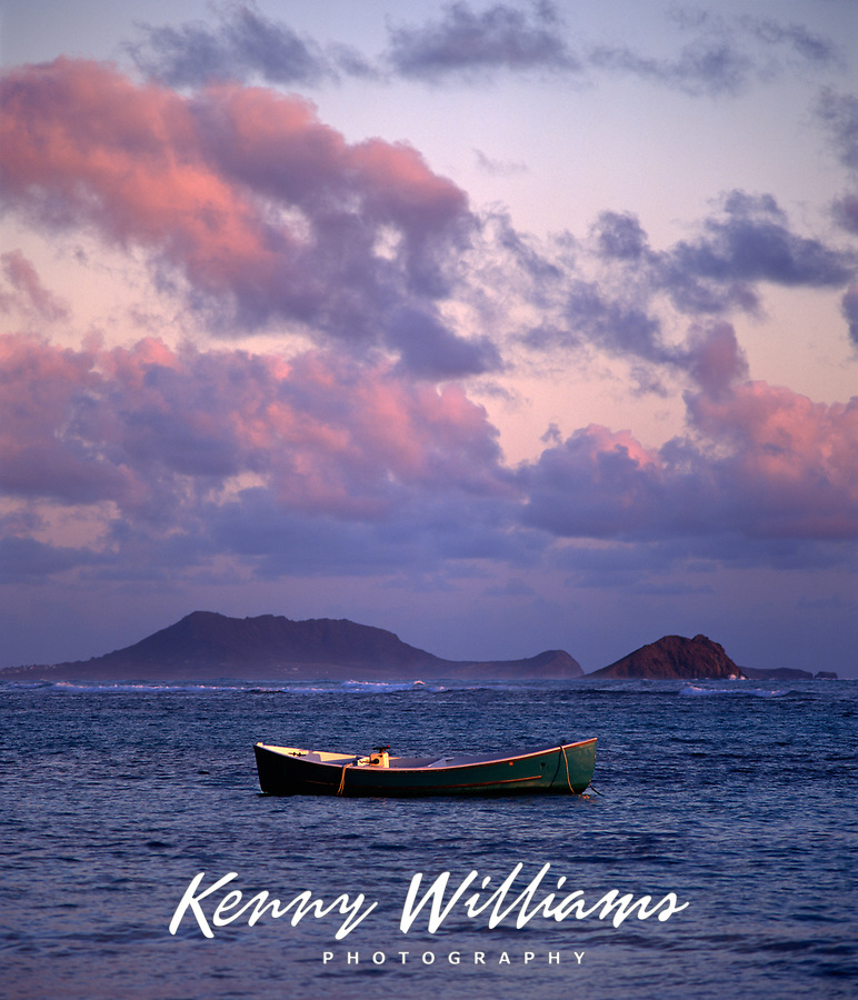 Fishing Boat at Sunrise, Waimanalo Bay, Oahu, Hawaii, USA.