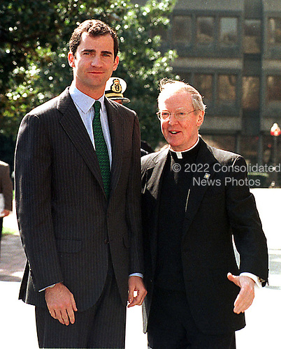 Prince Felipe de Borbon y Grecia of Spain arrives at Georgetown University in Washington, DC, March 23, 1999.  Georgetown President Leo J. O'Donovan, S.J. (left) greeted him..Credit: Ron Sachs / CNP