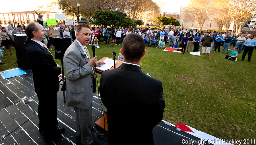 TALLAHASSEE, FLA. 3/8/11-OPENINGDAY030811 CH-Rep. Rick Kriseman, D-St. Petersburg, center, is joined by Rep. Scott Randolph, D-Orlando, left and Rep. Darren Soto, D-Orlando, right during an Awake the State rally Tuesday in Tallahassee..COLIN HACKLEY PHOTO